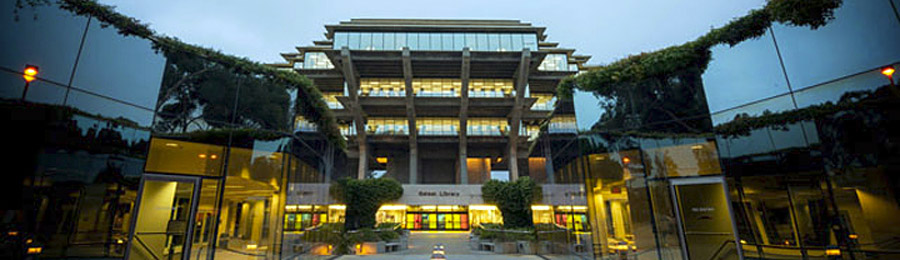 UC San Diego Library entrance at dusk