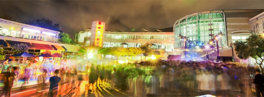 UC San Diego, Price Center plaza at night, bright lights
